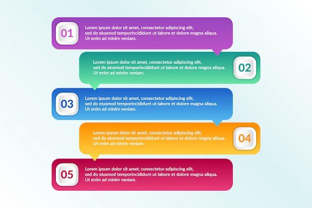 Liste conception infographique avec 5 listes info Vecteur Premium