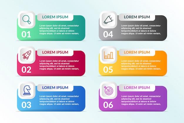 Liste conception infographique avec 6 listes info Vecteur Premium