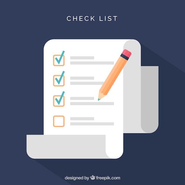 Liste de contrôle géométrique avec un crayon Vecteur gratuit