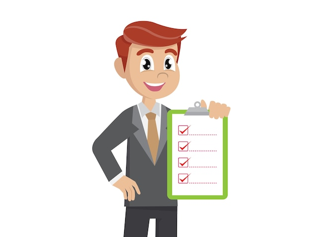 Liste de contrôle de holding homme d'affaires. Vecteur Premium