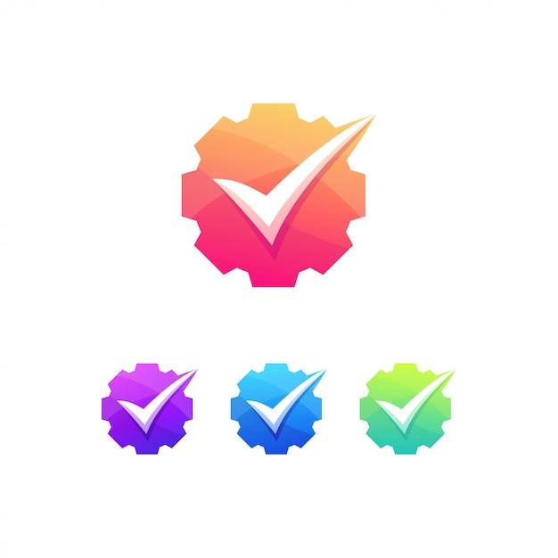 Liste De Contrôle Industrielle Ingénieur Logo Mécanicien Vecteur Premium