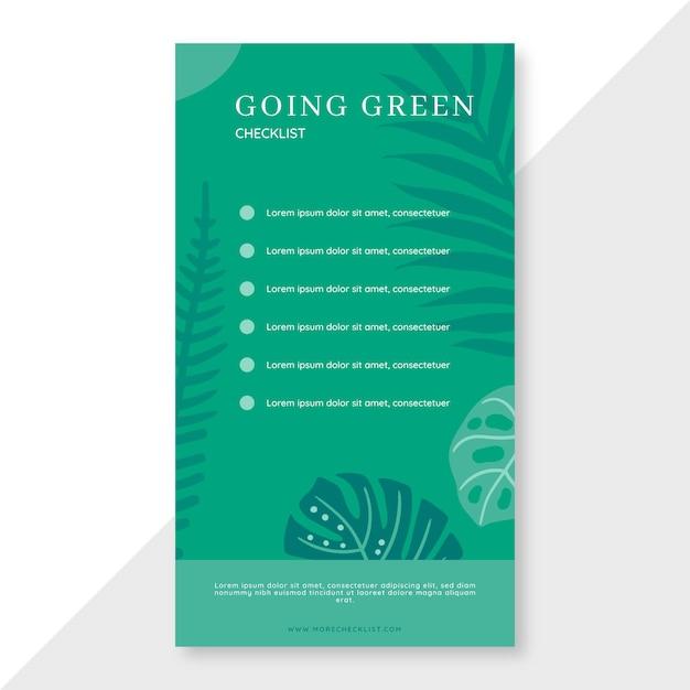 Liste De Contrôle Pour Passer Au Vert Vecteur gratuit