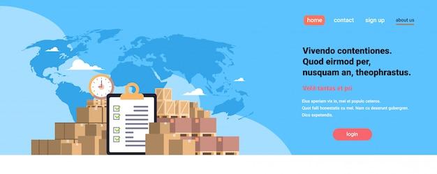 Liste De Contrôle Remplie Presse-papiers Colis Colis Boîte En Papier Bleu Carte Du Monde, Livraison Internationale Concept Industriel Plat Horizontal Copie Espace Vecteur Premium