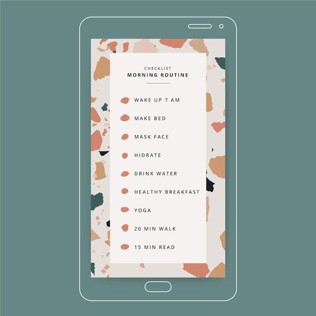 Liste De Contrôle De Routine Du Matin Instagram Story Vecteur gratuit