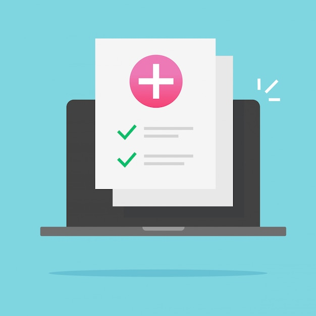 Liste De Contrôle De Santé Des Documents Médicaux En Ligne Sur Ordinateur Portable Vecteur Premium