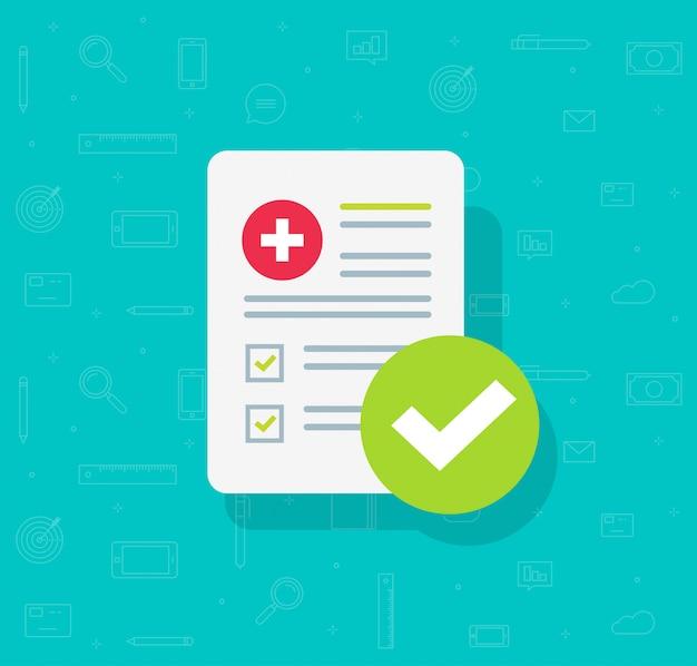 Liste de formulaires médicaux avec données de résultats et coche approuvée Vecteur Premium