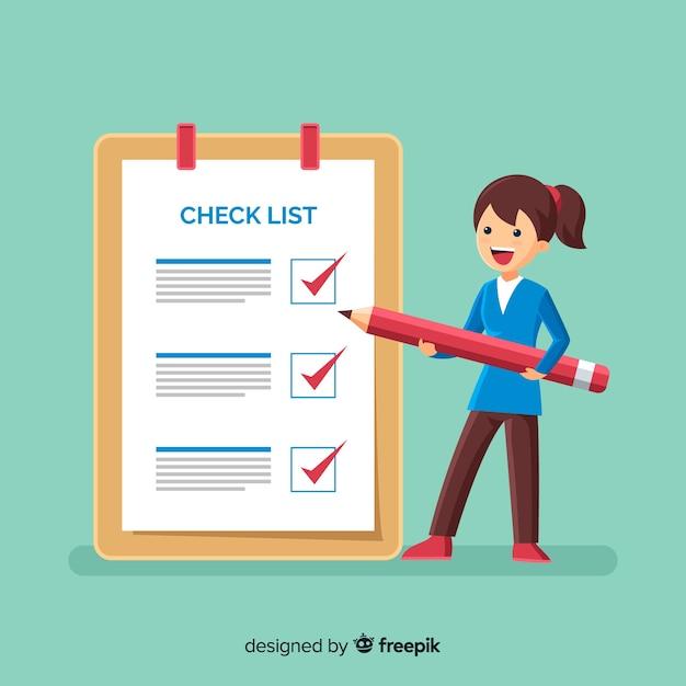 Liste de vérification femme liste de vérification géante Vecteur gratuit