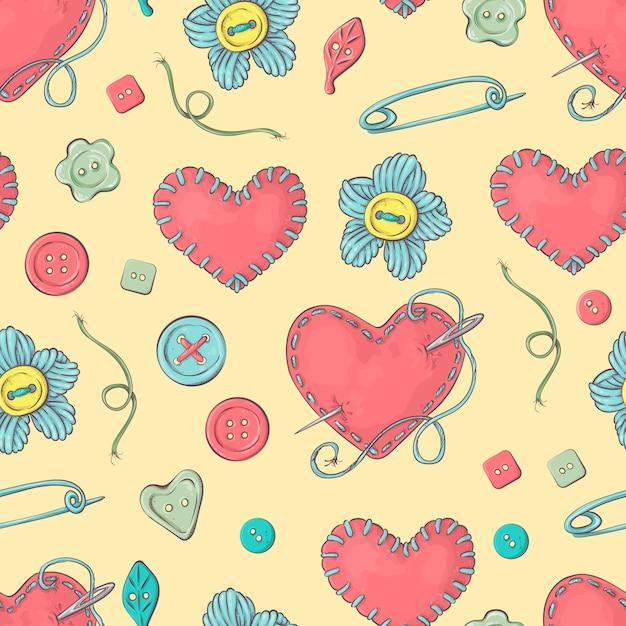 Lit à aiguilles cousu en forme de cœur et accessoires de couture. Vecteur Premium