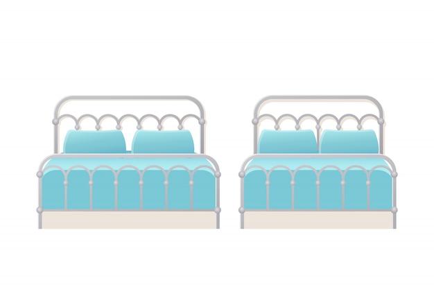 Lit. . Lits Doubles Métalliques Simples Dans Un Appartement Pour Chambre, Chambre D'hôtel. Jeu De Dessin Animé Isolé. Icône De Meubles. équipement De La Maison Animée. Vecteur Premium