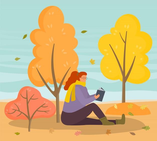 Littérature de lecture féminine en automne park Vecteur Premium