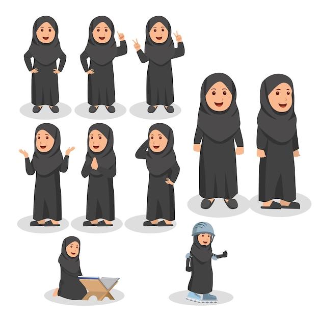 Little arabian kids cute set personnage cartoon illustration Vecteur Premium