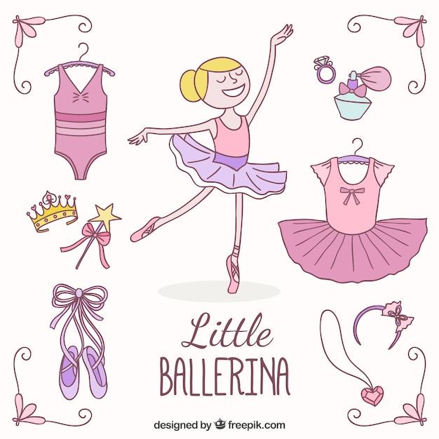 Little ballerina et ses éléments Vecteur gratuit