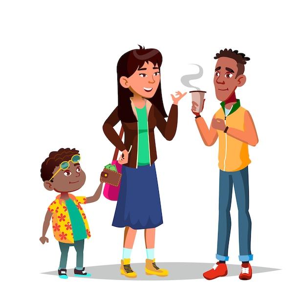 Little Boy Stealing Woman Money (personnage) Vecteur Premium