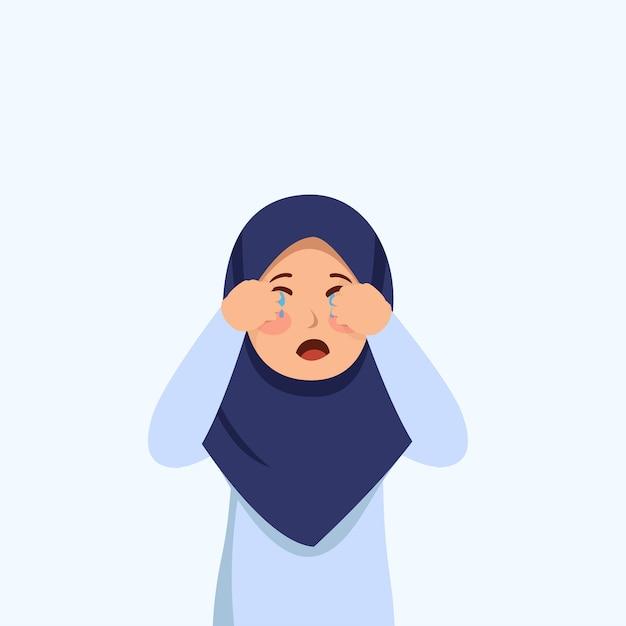 Little hijab girl cry expression potrait cartoon illustration vecteur Vecteur Premium