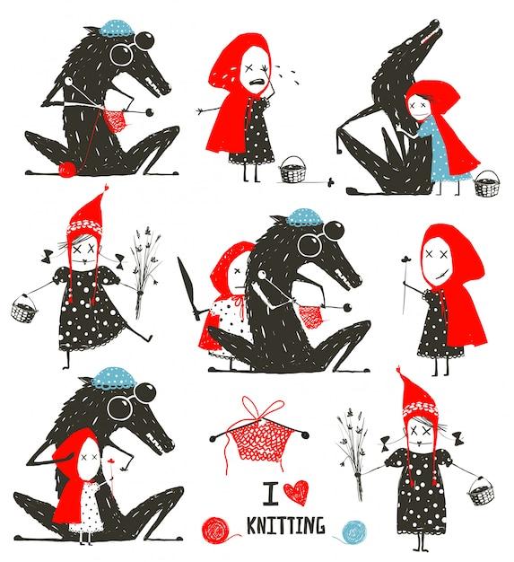 Little Red Riding Hood Et Wolf Fairytale Collection Vecteur Premium
