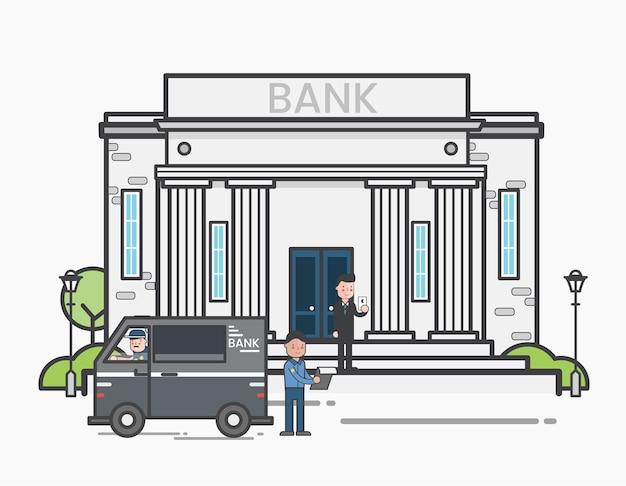 Livraison d'argent dans une banque Vecteur gratuit