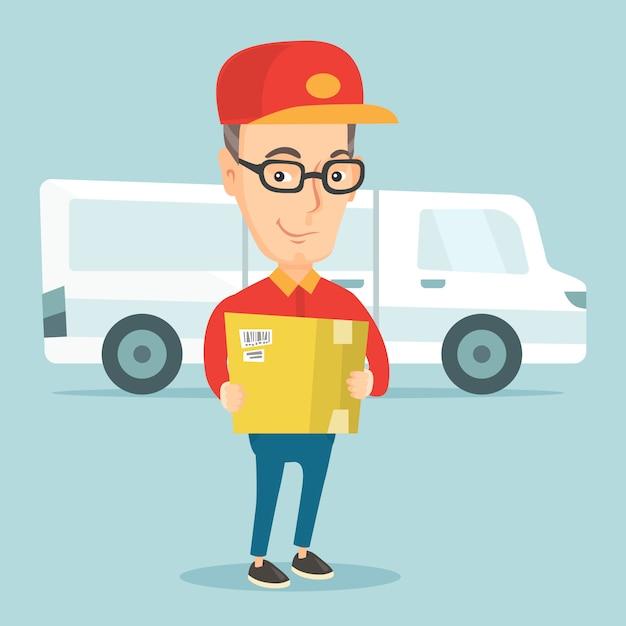 Livraison courrier transportant des boîtes en carton. Vecteur Premium