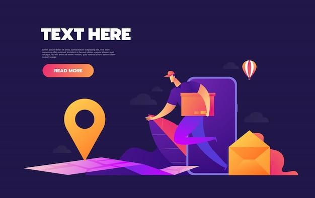 Livraison e-commerce. payez vos achats en ligne et en ligne. peut être utilisé pour la publicité, l'infographie, l'icône des applications mobiles. Vecteur Premium