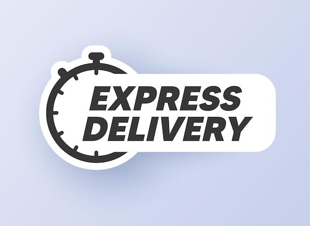 Livraison Express. Autocollant De Minuterie. Minuterie, Horloge, Icône Du Chronomètre Vecteur Premium