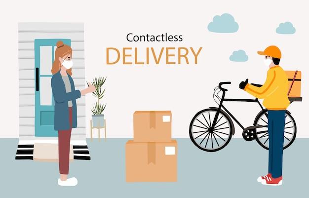 Livraison En Ligne Sans Contact à Domicile, Au Bureau à Vélo. Livreur Met En Garde Contre Le Coronavirus Vecteur Premium