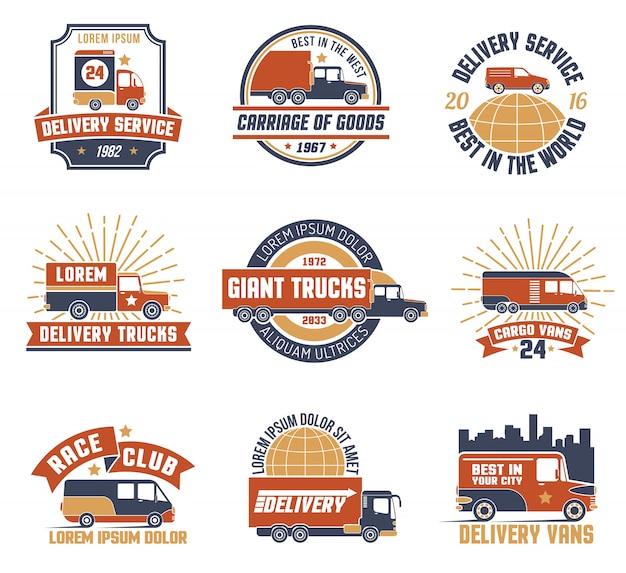 Livraison logo emblem set Vecteur gratuit