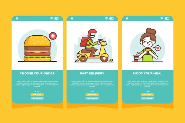 Livraison De Nourriture - écrans D'intégration Vecteur gratuit