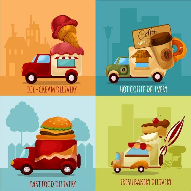 Livraison de nourriture mobile Vecteur gratuit