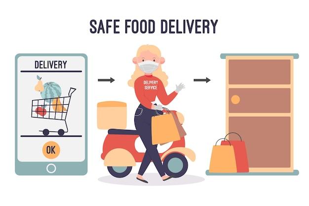 Livraison De Nourriture En Toute Sécurité Avec Femme Et Smartphone Vecteur gratuit
