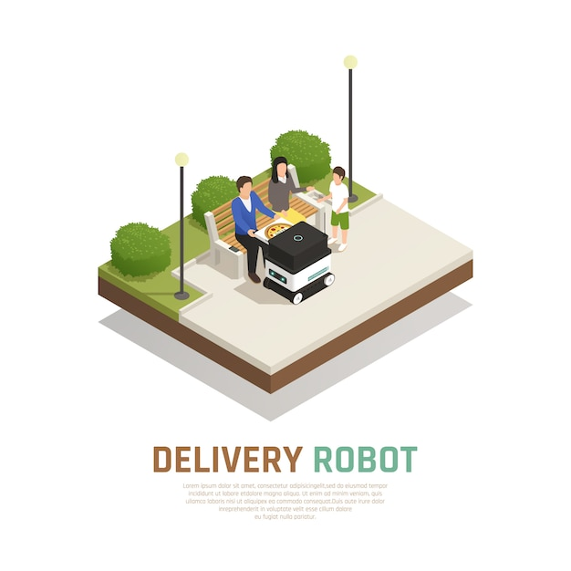 Livraison De Pizza Par Transport Robotisé Sans Conducteur Pour Les Familles Séjournant Dans Une Composition Isométrique Extérieure Vecteur gratuit