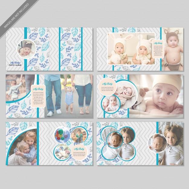 Livre d'album de bébé Vecteur Premium