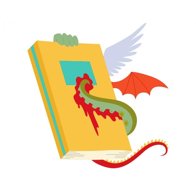 Livre antique avec des ailes de dragon et des tentacules de pieuvre i Vecteur Premium