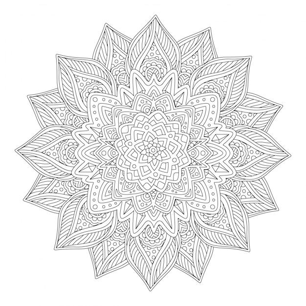 Livre d'art à colorier avec une belle fleur stylisée Vecteur Premium