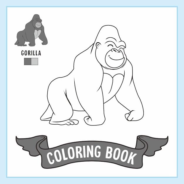 Livre De Coloriage Animaux Gorille Vecteur Premium