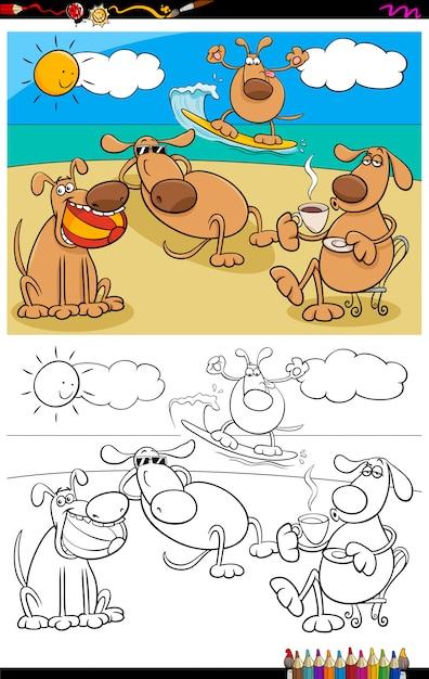 Livre de coloriage chiens en vacances Vecteur Premium