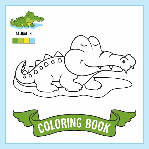Livre De Coloriage Crocodile Animaux Alligator Vecteur Premium