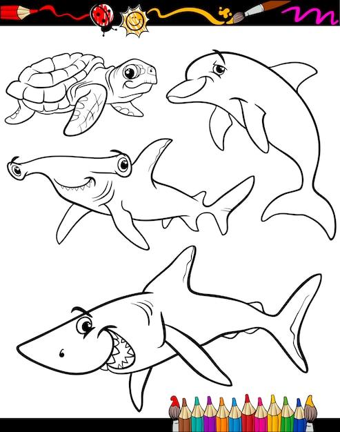Livre de coloriage dessin animé animaux de mer Vecteur Premium