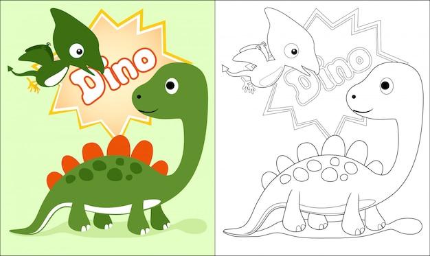 Livre de coloriage avec dessin animé de beaux dinosaures Vecteur Premium