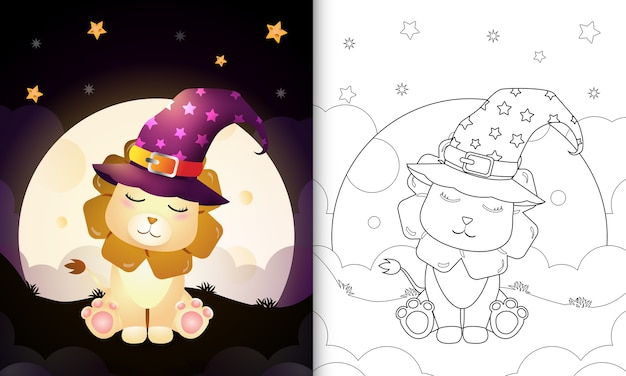 Livre De Coloriage Avec Un Dessin Animé Mignon Halloween Sorcière Lion Devant La Lune Vecteur Premium