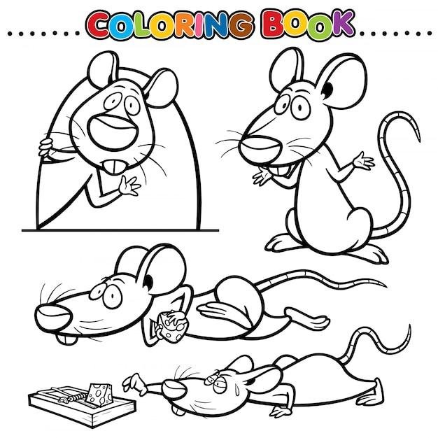 Livre De Coloriage De Dessin Animé - Rat   Vecteur Premium