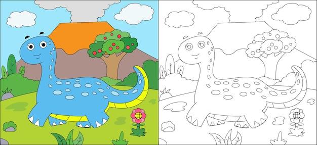 Livre De Coloriage Dino Vecteur Premium