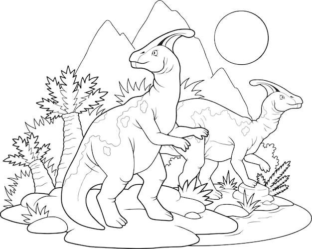 Livre De Coloriage De Dinosaures Vecteur Premium