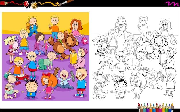 Livre de coloriage de drôles de personnages Vecteur Premium