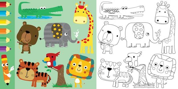 Livre De Coloriage Avec Ensemble De Dessin Animé D'animaux, Vecteur Premium