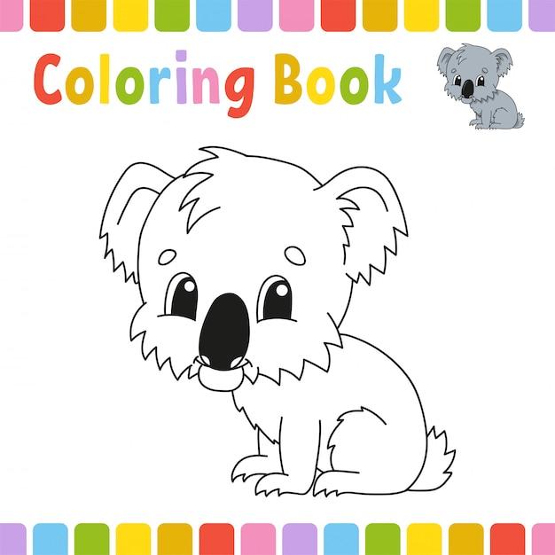 Livre De Coloriage Koala Vecteur Premium