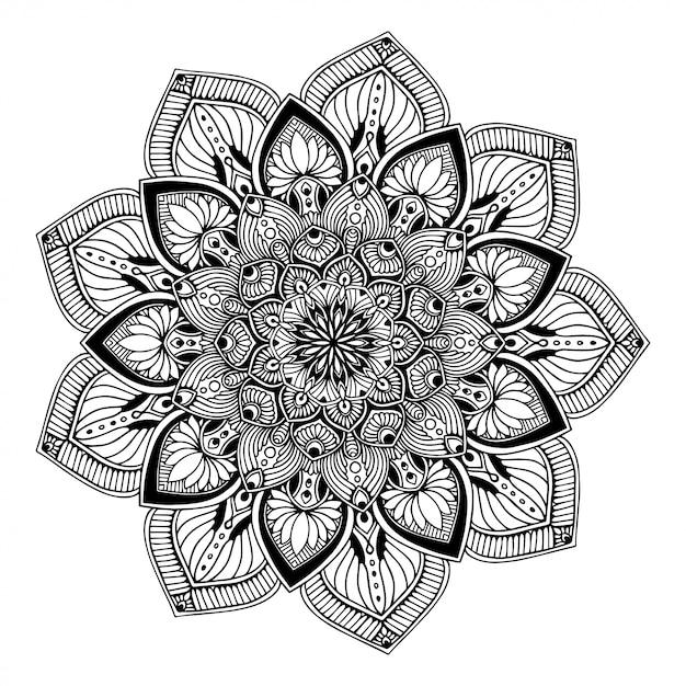 Livre de coloriage mandala, doodle de yoga oriental Vecteur Premium