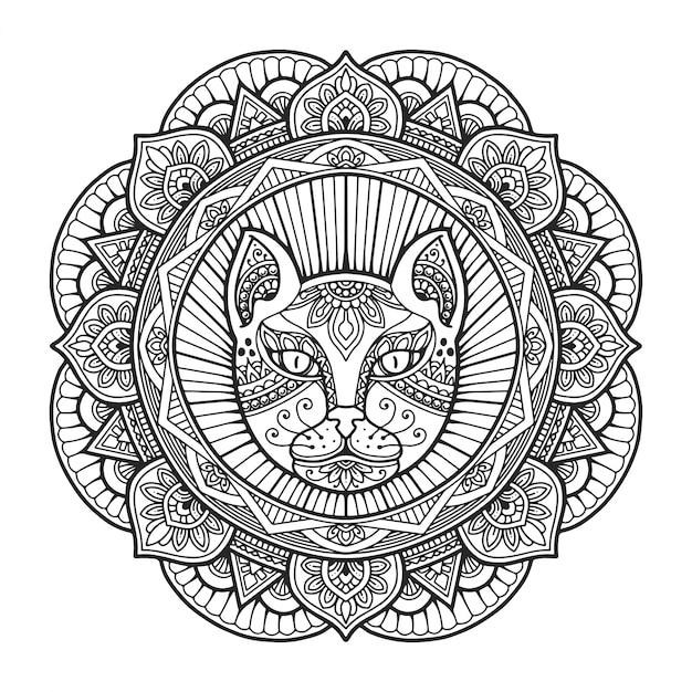 Livre De Coloriage Mandala Tête De Chat.   Vecteur Premium