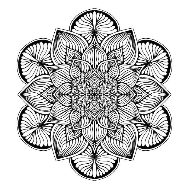 Livre de coloriage de mandalas, forme de fleur, thérapie orientale, logos vector yoga. Vecteur Premium