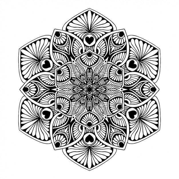 Livre de coloriage de mandalas, thérapie orientale, vecteur de logos de yoga. Vecteur Premium
