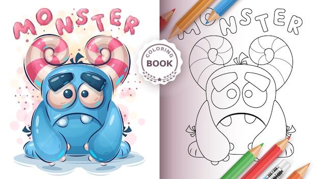 Livre De Coloriage Monstre Mignon Pour Enfant Et Enfants Vecteur gratuit