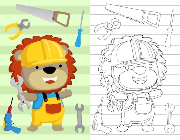 Livre de coloriage ou page avec dessin de lion Vecteur Premium